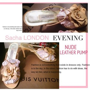 Sacha London Sacha London Nude Leather Floral Wedding Pumps Size 6 Wedding Shoes