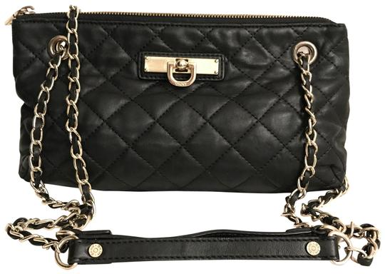 Dkny Quilted Black Gold Na Leather