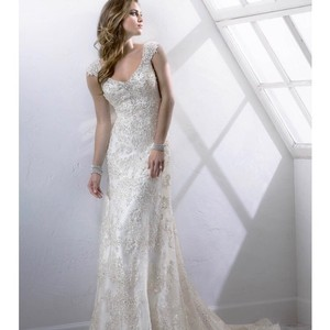 Sottero and Midgley Ivory White Lace Tulle Over A Demir Satin Slip Simone Formal Wedding Dress Size 14 (L)