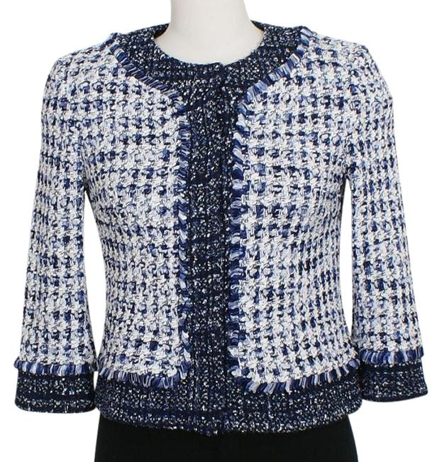 Item - Midnight Blue White Check Tweed Fringe Trim Cropped Jacket Blazer Size 4 (S)