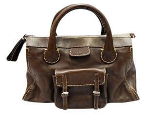 Chloé Edith Chocolate Leather Satchel in Brown