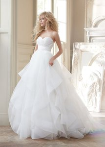 Hayley Paige Ivory Silk Radzmir Crossover Bodice Full Tulle Skirt with Horsehair Flounces and Chapel Train Londyn Modern Wedding Dress Size 0 (XS)