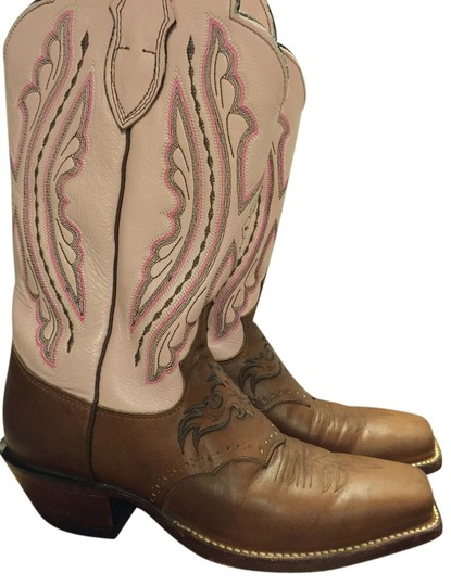 Justin Leather Square Toe Tan & Pink Boots