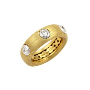 Pasquale Bruni 18078 - Diamonds 18k Two Tone Gold Textured Band Ring -Size 7
