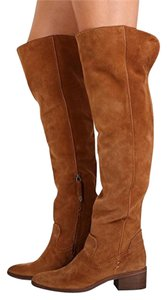 Dolce Vita Suede Leather Over The Knee Tall Brown Dark Saddle Boots