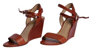 BCBGMAXAZRIA Ankle Strap Leather Saddle Brown Wedges