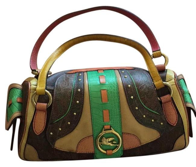 Item - Multi Color; Brown Paisley Yellow Green Orange Leather and Coated Canvas Shoulder Bag