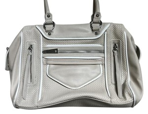 Jessica Simpson Top Handle Pockets Zippers Soft Leather Satchel in Cream/White Trim