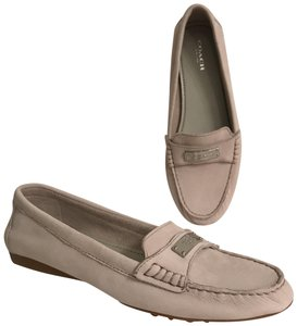 Coach Loafer Leather Moccasins Slip Ons Suede Beige Flats
