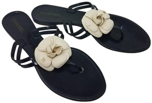 Chanel Jelly Camellia Interlocking Cc Gold Hardware Silver Hardware Black, White Sandals