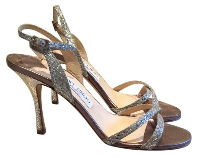 Item - Silver Glitter Sling Back Sandal 247india Champagne and Fabric Formal Shoes Size US Regular (M, B)