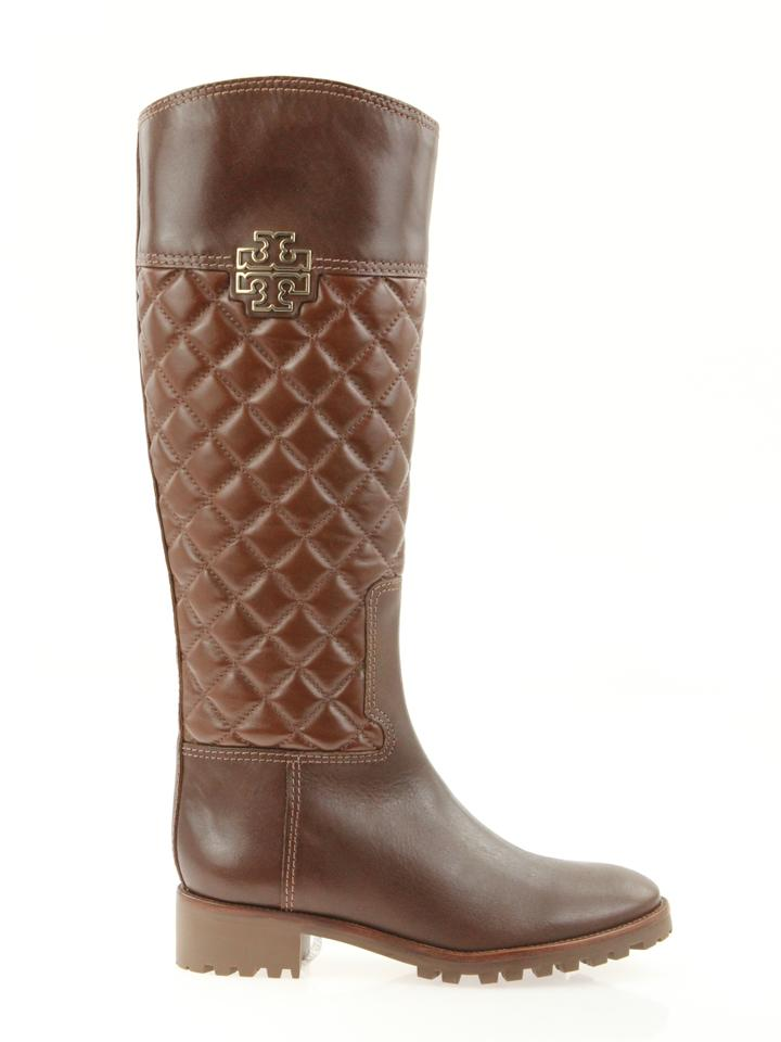 ed9ae0e4a240 Tory Burch Brown Melinda Quilted Leather Riding Boots Booties Size ...