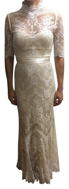 Item - Cream Poly-lace; Polyester Lining Bridgette Gown Vintage Wedding Dress Size 0 (XS)