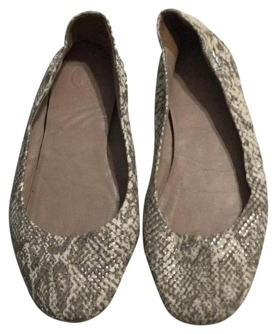 Item - White Gray with Silver Shimmers Minnie Travel Ballet Flats Size US 7.5 Wide (C, D)