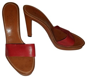 Saint Laurent Yves Leather Heel Red and Tan Sandals