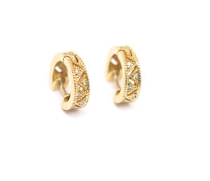 "Judith Ripka JUDITH RIPKA 18K Gold Huggies Earrings w/ Diamonds ""Romance Collection"