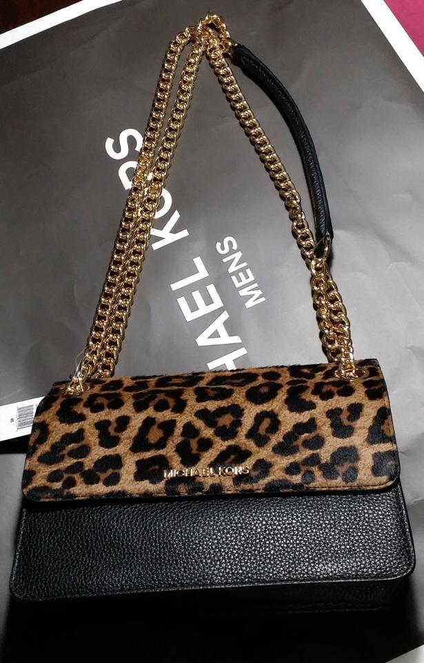 13f57be3f40b Michael Kors Michael Kors whitney Leather convertible Crossbody leopard  black Image 11. 123456789101112