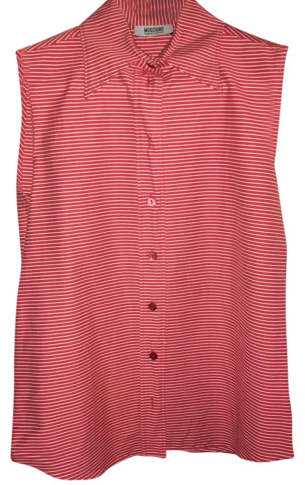 Moschino red striped cheap and chic sleeveless dress shirt for Red and white striped button down shirt