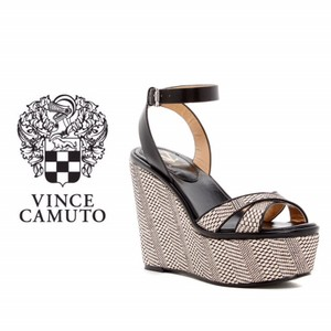 Vince Camuto Wedge Leather Dust Cover Sandal Black & Beige Platforms