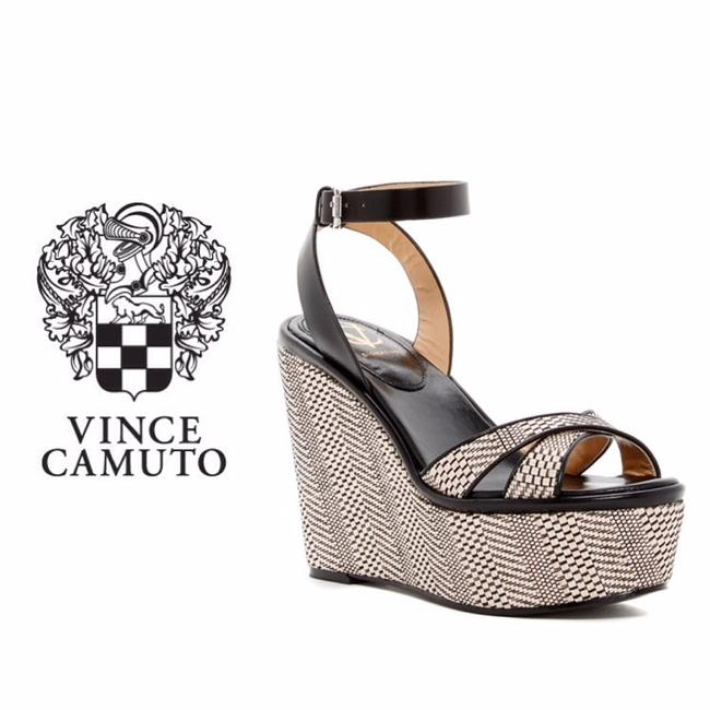 Vince Camuto Black & Beige Signature Wedge Platforms Size US 8.5 Regular (M, B) Vince Camuto Black & Beige Signature Wedge Platforms Size US 8.5 Regular (M, B) Image 1
