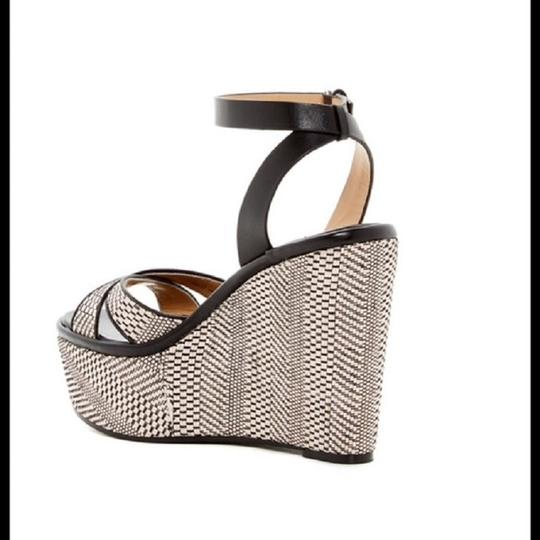 Vince Camuto Wedge Leather Dust Cover Sandal Black & Beige Platforms Image 2