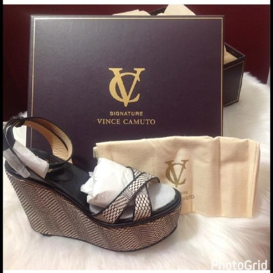 Vince Camuto Wedge Leather Dust Cover Sandal Black & Beige Platforms Image 3