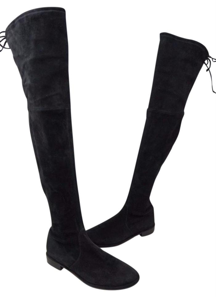 0bd975e90a4 Stuart Weitzman Black Lowland Over The Knee Suede Boots Booties Size ...