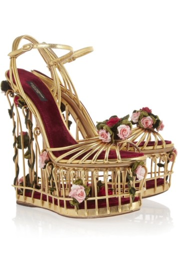 Dolce&Gabbana Dolce & Gabbana Cage Floral Metallic Gold Wedges Image 1