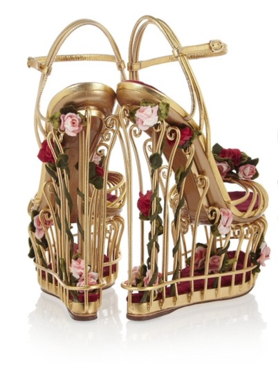 Dolce&Gabbana Dolce & Gabbana Cage Floral Metallic Gold Wedges Image 2