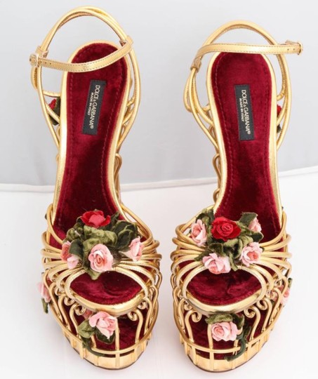 Dolce&Gabbana Dolce & Gabbana Cage Floral Metallic Gold Wedges Image 6
