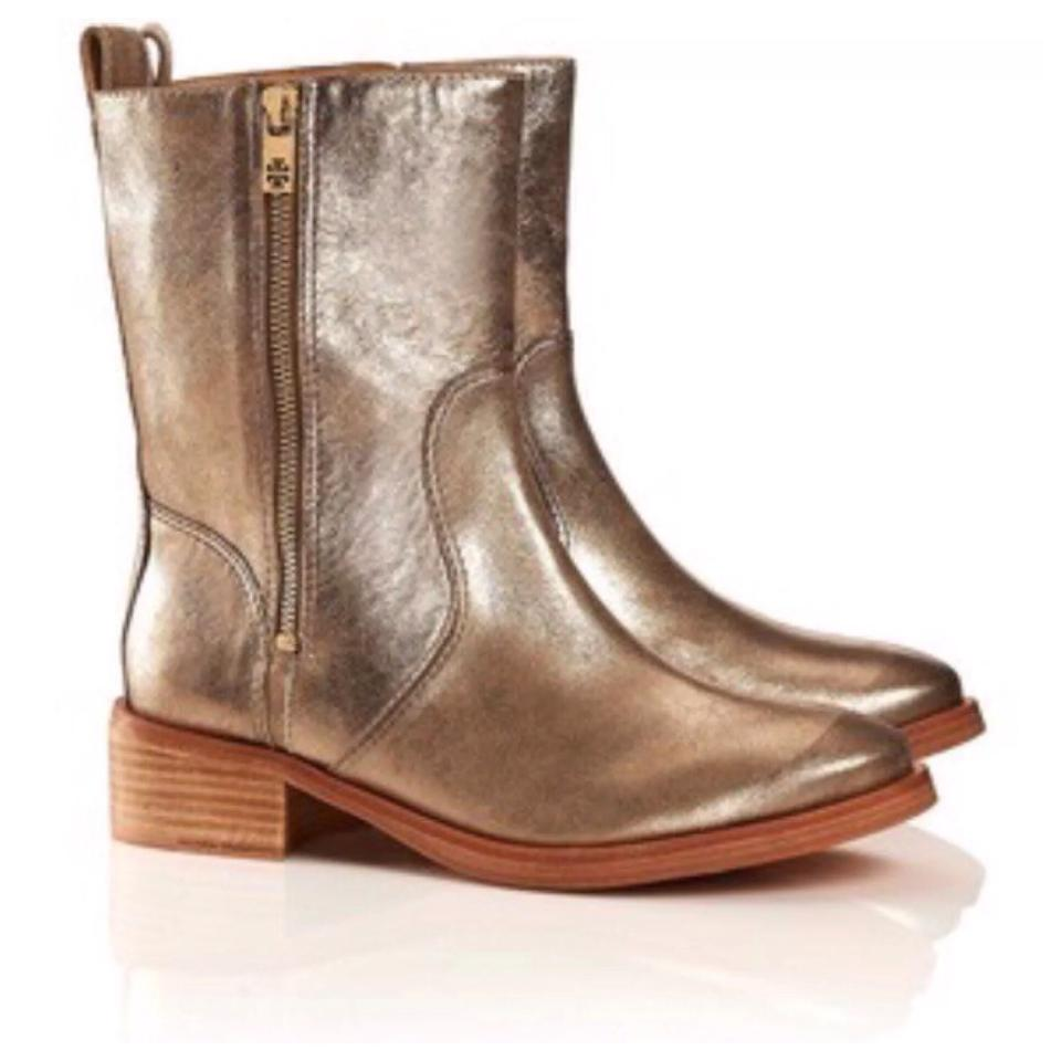 Tory Burch Gold Sahara Sand Boots/Booties Halle Metallic Leather Ankle Boots/Booties Sand f2466e
