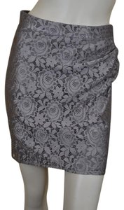 Reiss Straight Lined Lace Ruched Mini Skirt Light Brown