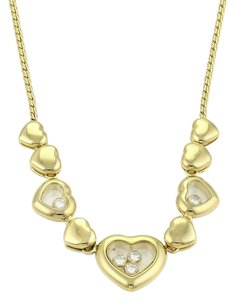 Chopard Happy Diamond 18k Yellow Gold Hearts Charm Pendant Necklace
