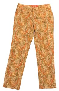 Cartonnier Straight Pants paisley pattern in orange/yellow/turquoise and white