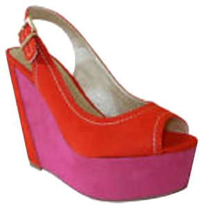 Soda Blu Platform Suede Wedge Open Toe Hot Pink / Red Platforms