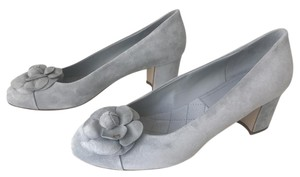Chanel Heels Classic Suede 38 Camellia Light Grey Pumps