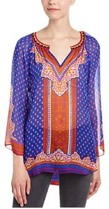 Hale Bob V-neck Silk Sheer Tunic Top Blue Multicolor