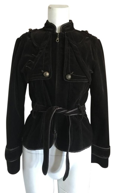 Item - Brown Velvet Military Style Belted Jacket Size 4 (S)