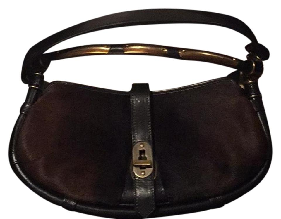 790226f94595 Burberry Prorsum Brown Black Gold Pony Hair and Leather Shoulder Bag ...