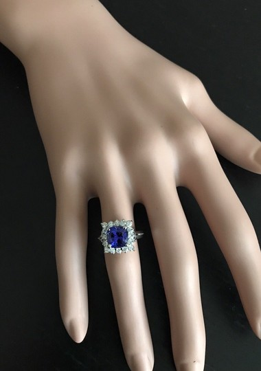 Other 3.10 Carats NATURAL TANZANITE and DIAMOND 14K White Gold Ring