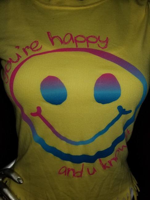 t-n-t Happyface Fringe Xsmall Shortsleeve T Shirt Yellow