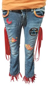 Almost Famous Clothing Pinkfloyd 5waist Hippie Boot Cut Jeans-Medium Wash