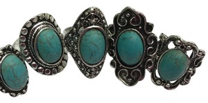 Queen Esther Etc Ladies 5ps Vintage Turquoise Assorted Rings/ One Size/adjustable