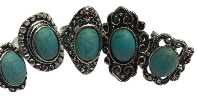 Item - Turquoise and Silver Ladies 5ps Vintage Assorted Rings/ One Size/Adjustable Ring