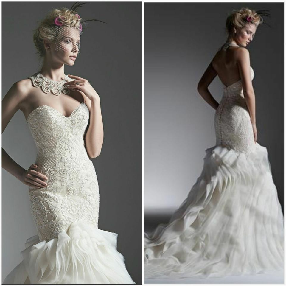 Sottero and Midgley Ivory Over Light Gold Beaded Lace/Organza Faith ...