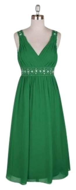 Preload https://img-static.tradesy.com/item/2214987/green-chiffon-embellished-pleated-goddess-v-neck-formal-mid-length-cocktail-dress-size-12-l-0-0-650-650.jpg