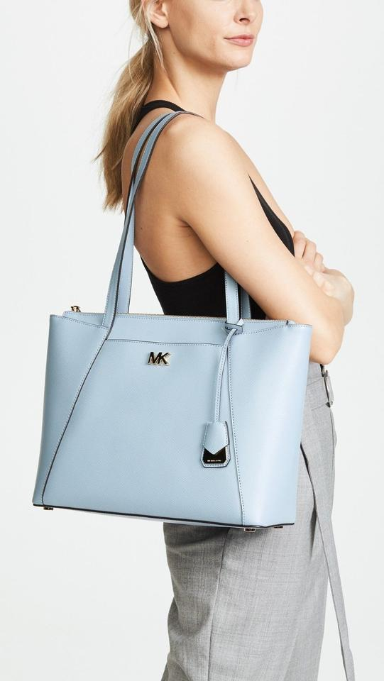 3f4a4e223 Michael Kors Maddie Medium Crossgrain Pale Blue Leather Tote - Tradesy