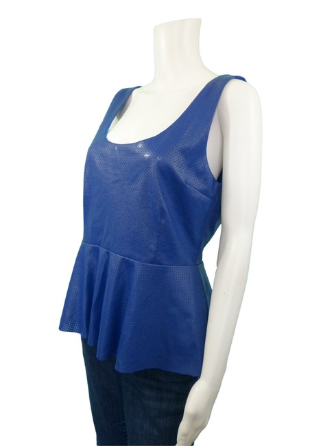 Isabel Lu Faux Leather Vegan Leather Top Blue