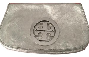 Tory Burch Amanda Logo Leather Metallic Clutch