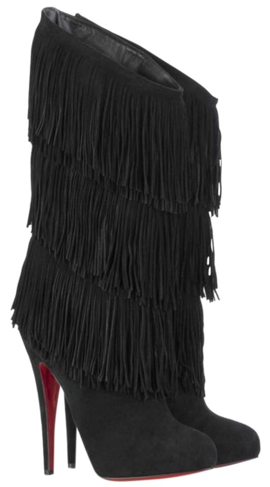 Christian Louboutin Black Forever Tina Fringe Suede Hidden Platform Boots Booties Size Eu 38 Approx Us 8 Regular M B 57 Off Retail